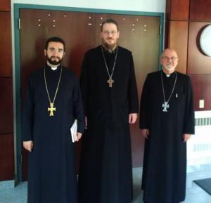 The Rev. Fr. Garegin Hambardzumyan, dean of the Gevorgyan Theological Seminary, with Fr. John and Fr. Mardiros Chevian