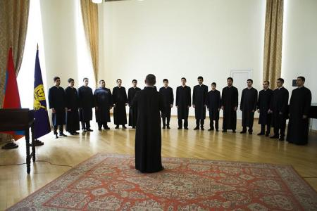 The student choir at the Gevorkian Seminary at Etchmiadzin, Armenia. (photo: Fr. Vahram Melikyan)