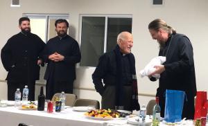 Fr. John Behr with Abp. Paul, metropolitan of the Antiochian Archdiocese in Australia, at a parish in Melbourne (photo: Paul Kariatlis)