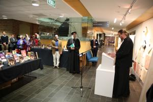 Fr. John Behr with Bp. Suriel at the SVS Press and SAC Press book launch. (photo: St. Athanasius College)