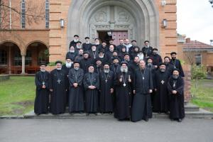 """Fr. John Behr with Bp. Suriel at a clergy seminar titled, """"The Life in Christ,"""" at St. Athanasius College (photo: St. Athanasius College)"""