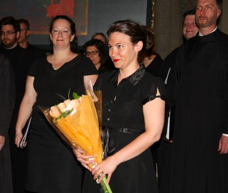 """Matushka Robin Freeman, newly appointed Director of Music at the Seminary, receiving kudos for her direction of """"ORIENT,"""" a NYC concert featuring the St. Vladimir's Seminary Chorale (photo: Deborah Belonick)"""