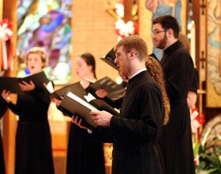 Harrison Russin, newly appointed Lecturer in Music at the Seminary, singing with the St. Vladimir's Seminary Chorale during his seminarian days (photo: Leanne Parrott)