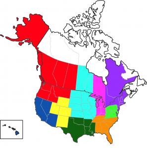 Red -- Northwest Dark Blue -- Southwest Yellow -- Mountain Light Blue -- Midwest Dark Green -- South Pink -- Great Lakes Orange -- Southeast Light Green -- Mid-Atlantic Purple -- Northeast