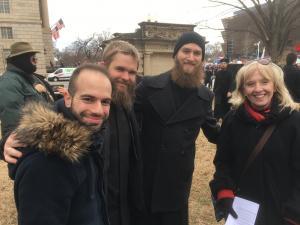 Seminarians Dimitrios, Dn. Isaac, Daniel Vanderkolk, with CFO Melanie Ringa