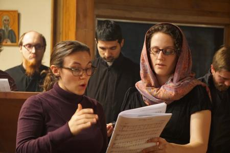 Robin Freeman, director of Music at St. Vladimir's Seminary, coaching students in chapel (photo: Adrienne Soper)