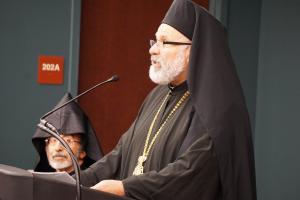 Alumnus Bishop John (Abdalah) delivers the Commencement Address (photo: Adrienne Soper)