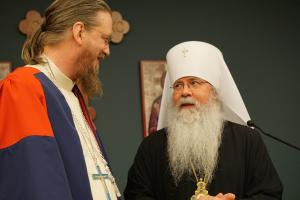 "Metropolitan Tikhon, announcing the appointment of Fr. John Behr to the ""Father Georges Florovsky Distinguished Professorship of Patristics"" (photo: Adrienne Soper)"
