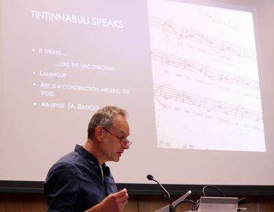 "Phillippe Grisar of Sint-Niklaas, Belgium, presenting his paper, ""Beyond Silence"" (photo: Mary Honoré)"