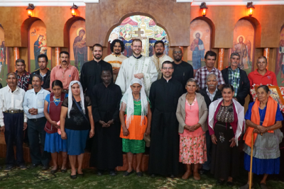 Seminarians in Tajumulco, Guatemala, with all the lay leaders of the community and Fr. Alexios, the parish priest (photo: Jesse Brandow)