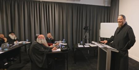 Father John Behr, teaching a course at St. Athanasius College-University of Divinity, in 2016