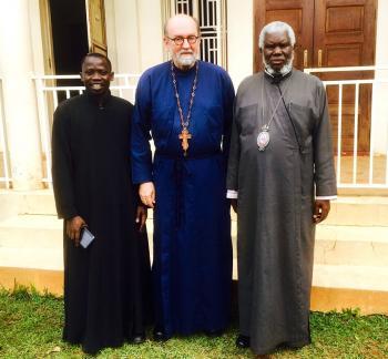 Seminarian Simon, Fr. Chad, with Metropolitan Jonah Lwanga, Archbishop of Kampala and All Uganda