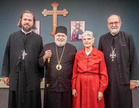 (from left) Fr. Alexander Rentel, Bishop Paul, Dr. Alice-Mary Talbot, Archpriest Chad Hatfield, president of St. Vladimir's Seminary (photo: Dn. Ryan Tellalian)