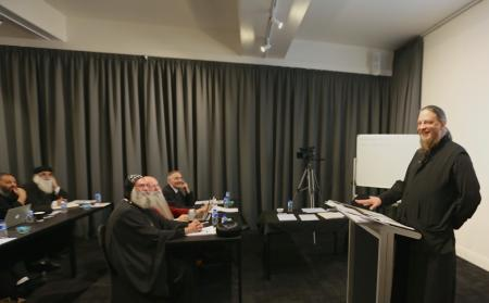 Father John Behr delivering a lecture in Patristics at St. Athanasius Coptic Orthodox College in Australia.