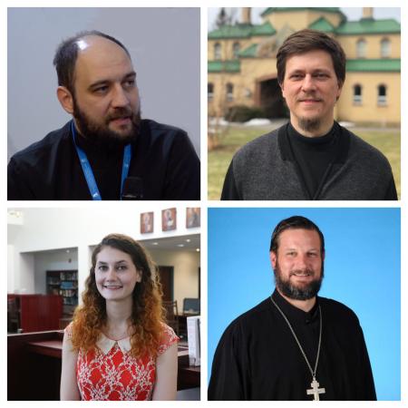 New hires include (from top left) Fr. Bogdan Bucur, Dr. Vitaly Permiakov, Danielle Earl, and Fr. Nicholas Roth.